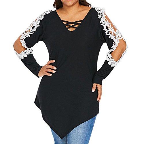 HGWXX7 Women Tops Long Sleeve Plus Size Off Shoulder Lace Patchwork Blouse Shirt(XL,Black) from HGWXX7