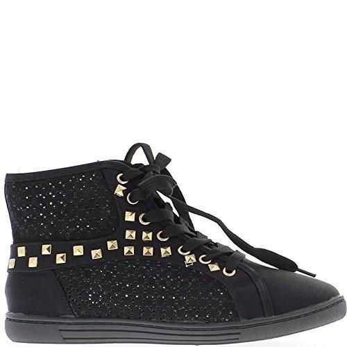 Zapatillas zapatos negro mujer abierta