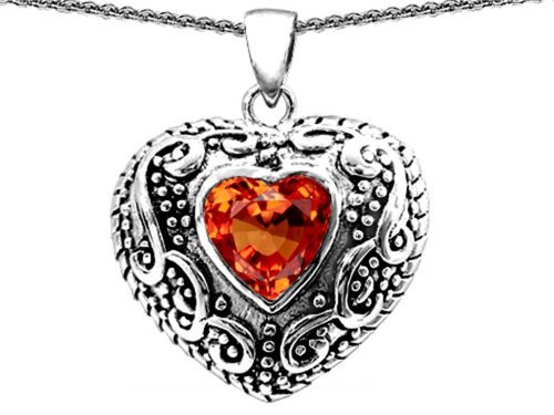 (Star K Bali Style Puffed 7mm Heart Simulated Orange Mexican Fire Opal Pendant Necklace Sterling Silver )