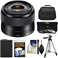 Sony Alpha E-Mount 35mm f/1.8 OSS Lens with Battery + Case + 3 Filters + Tripod Kit for A7, A7R, A7S Mark II, A5100, A6000, A6300 Cameras