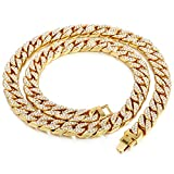 Davieslee Mens Womens Necklace Chain Hiphop Iced Out Curb Cuban Gold Plated w/ Clear Rhinestones Necklace 24-36inch