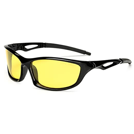 b884e679bf Night Vsion Sunglasses for Cycling Running Fishing Driving Men and Women  Yellow Lens(Black