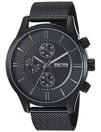 Kenneth Cole REACTION - Reloj de cuarzo para hombre, de metal y acero inoxidable, color negro (modelo: RKC0214001)