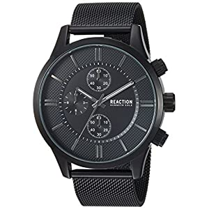 Kenneth Cole REACTION Male Analog-Quartz Watch with Black Strap, Stainless Steel, 22 (Model: RKC0214001)