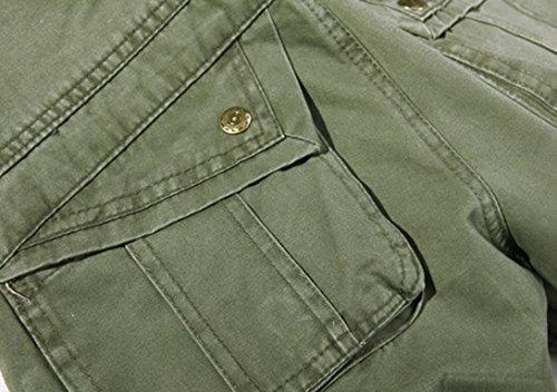 coton à Feoya multiples de Pantalon l'eau travail clair extérieur hommes pantalon poches décontracté ample vert coupe lavable pantalon en pour cargo à a44Azq