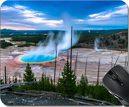 MSD Natural Rubber Mouse Pad Mouse Pads/Mat design 22473050 Grand Prismatic Geyser at Sunset photographed from the Hill