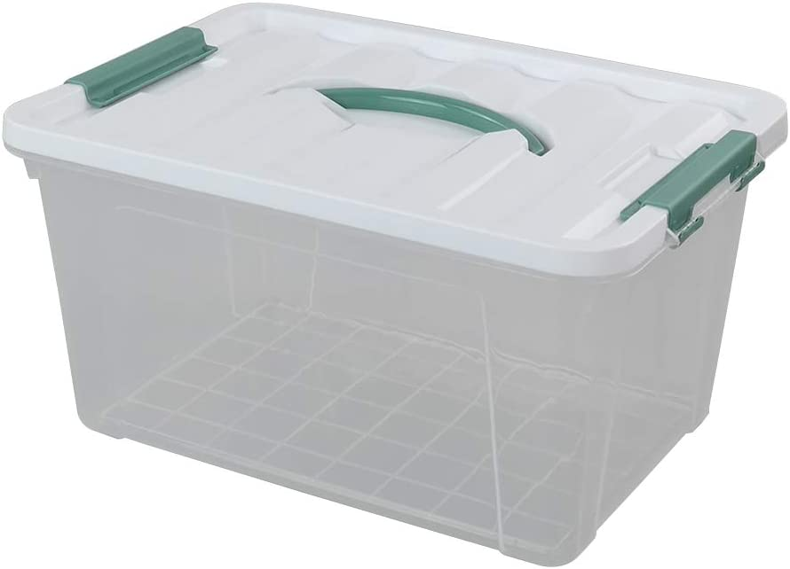 Multipurpose Stackable Plastic Storage Latches Box//Containers Gloreen 14 Quart Clear Storage Bins with Lid and Handle