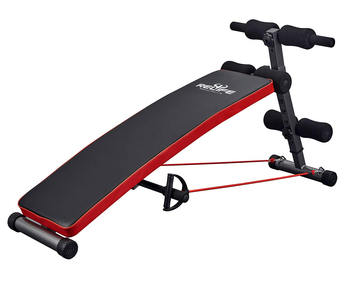 RELIFE REBUILD YOUR LIFE Sit Up Bench Adjustable Workout Foldable Bench Fitness Equipment for Home Gym Ab Exercises New Version