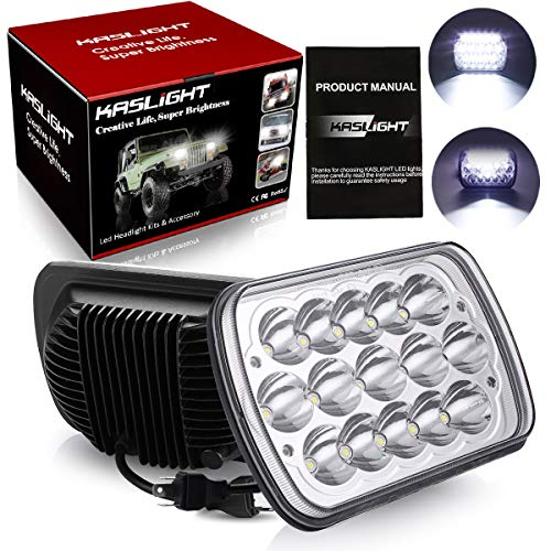 KASLIGHT H6054 Led Headlights, Pair 7x6 Led Headlights 5x7 Led Headlight 6054 Led Headlight 7x6 Headlights H6054 Led Headlight Hi/Low Sealed Beam 7x6 Headlight Lamp for Jeep Xj Yj Cherokee E250 ()