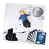 To the Moon 100% Cotton Baby Blanket Swaddle and Milestone Photo Cards Bundle - Includes 12 Double-Sided Milestone Photo Cards and 1 Baby Milestone Blanket - by JumpOff Jo