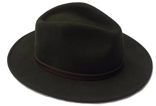2b90acf5b69241 Thorness Olive Green Wide Brim 100% Wool Felt Fedora Trilby Hat - X ...
