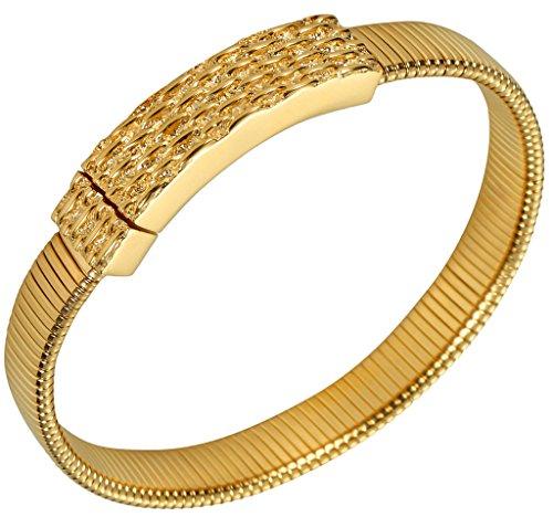(ANAZOZ Men's Bracelet Gold Link Gold Square Design Gold Plated Length 21.5Cm,#A231)