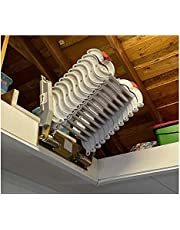 Wall-mounted telescopic ladder stretches down the attic stairs, thickened aluminum folding ladder (Aluminum alloy 2.5M,Black and White)