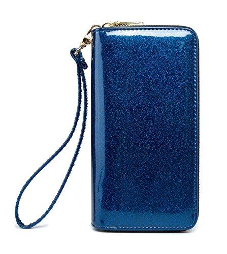 Blue Wallet Womens (LIKESHE Women Blue Pearlescent Skin Multifunctional Double Zipper Wallets For Women (BlueZG2))