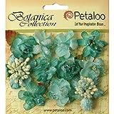 Petaloo Botanica 1.25-Inch Sugared Blooms, Mini, Teal, 11-Pack
