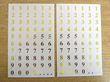 7mm gold numbers on clear transpapent square labels self adhesive