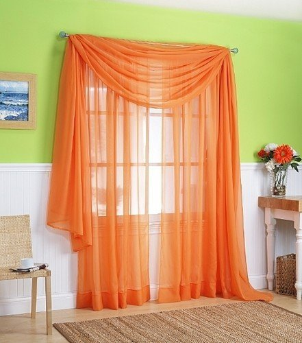LuxuryDiscounts Beautiful Elegant Solid Orange Sheer Scarf Valance Topper 37