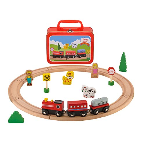 KIDS TOYLAND Pre-Kindergarten Toys for Kids Wood Farm Animal Train Railway Sets (20 pcs)