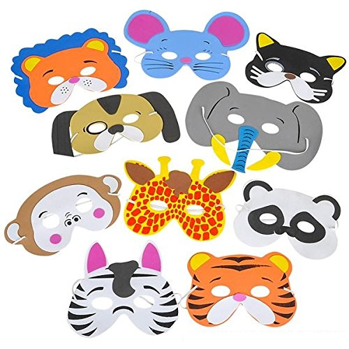 Kidsco - 12 Assorted Foam Funny Animal Mask - For Kids & All Ages, Party, Halloween, Dress-Up, Prop, Costume With Elastic (Cat Costumes For Toddlers)