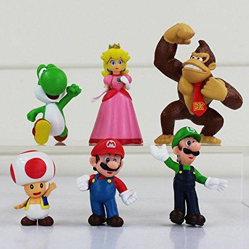 Super Mario Brothers Luigi 6 figuras de juguete decoración para tarta decoración bolsa de fiesta relleno