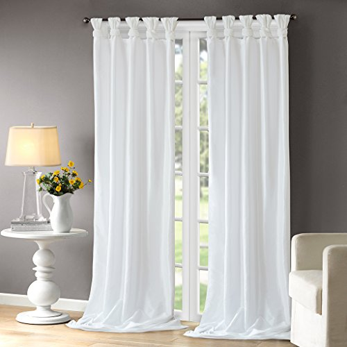 Madison Park Emilia Room-Darkening Curtain DIY Twist Tab Window Panel Black Out Drapes for Bedroom and Dorm, 50x108, White (Knot Top Curtains)