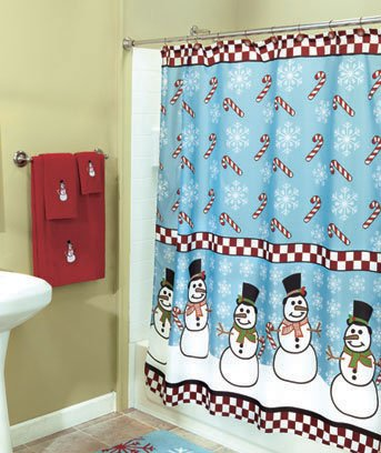 All Frosty The Snowman Snowmen Shower Curtain Bathroom Christmas Holiday Decor