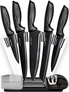HomeHero 5-Piece Stainless Steel Sharpener and Block Kitchen Knife Set with Finger Guard