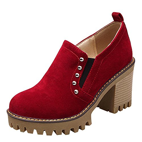 Carolbar Plate-forme De Confort Confort Cloutés Mid Heel Oxfords Chaussures De Sport Rouges