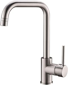 GIMILI Kitchen Sink Faucet Stainless Steel One Hole Brushed Nickel Single Handle 360 Degree Rotation Bar Sink Faucets