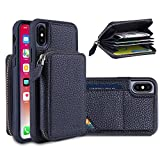 YUNCE iPhone X Wallet Case, iPhone 10 Case Credit Card Holder Slot Cases With Detachable Money Pocket Case Shockproof Leather Case With Zipper Wallet Protective Cover For iPhone X (Black)