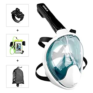 Enkeeo Full Face Snorkel Mask with 180° Panoramic View, Watertight and Anti-Fog (Including Waterproof Phone Case and GoPro Compatible Band) - Turquoise L/XL