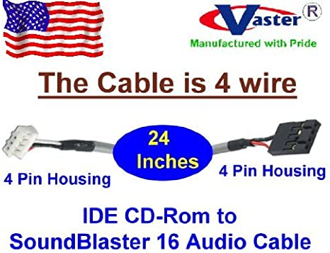 Lot of 2 MPC-2  to Soundblaster Audio PC CD-ROM Cable White Black End 4 pin