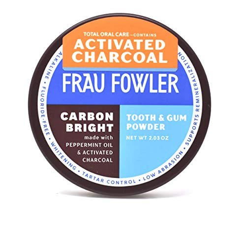 Activated Charcoal Teeth Whitening Tooth Powder- Carbon Bright Total Oral Care, Remineralizing, Herbal Formula in Sweet Peppermint, Safe For Daily Use, large 1.7 oz / 48 grams