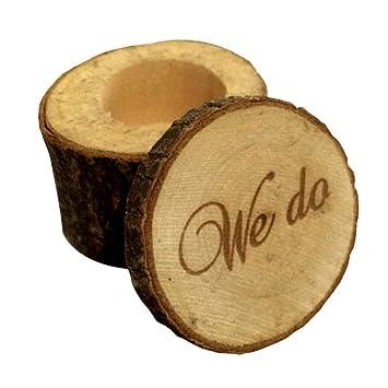 Caja de almacenamiento de anillos de madera Hermosa letras ...