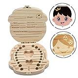 Baby Teeth Box Save Organizer - INTVN 2 Pcs Kids Teeth Box Baby Teeth Storage - Wood Storage Box for Kids Boy and Girl