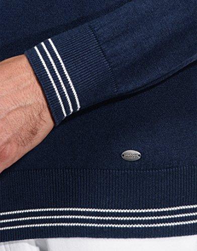 Pull Manche longue over Boretti Et Col L'automne Uni Chic L'hiver 3 Étroite Foncé Montant Chaud À Coupe Vincenzo bleu Pour Tricoté Homme Côtelé zn5qnZx8