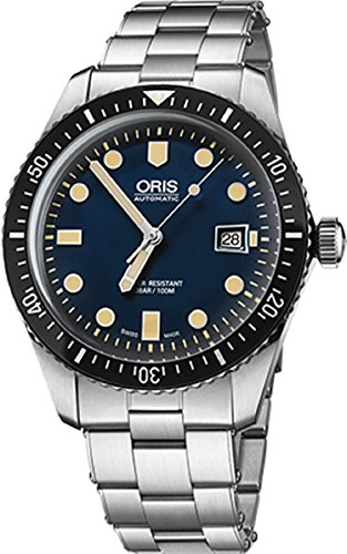 Oris Divers65 Mens 41MM Date Blue Face Stainless Steel Bracelet Automatic Swiss Watch 73377204055MB