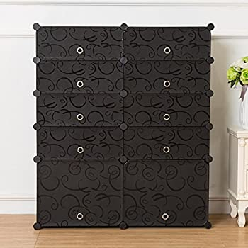 unicoo multi use diy plastic 10 cube shoe rack organizer bookcase shoes cabinet 25 black with black doors