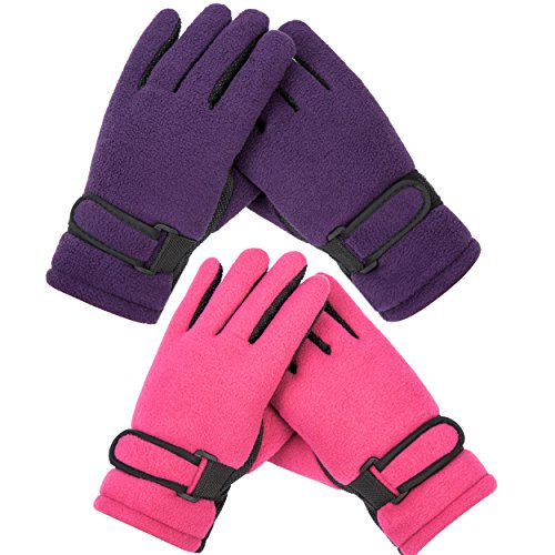 Kid's Boy Girl Fleece Winter Gloves Mittens Non slip Riding Driving Ski Sports (Winter Gloves Girls)