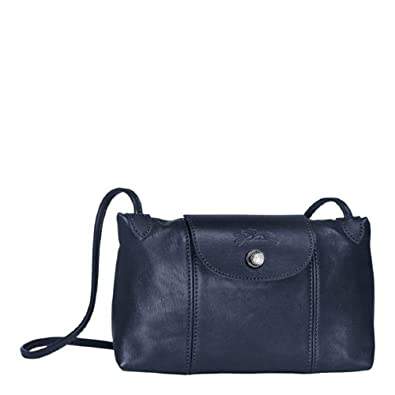 364fc8714be6 Longchamp Women s Leather Le Pliage Cuir Crossbody Bag Navy Blue  Handbags   Amazon.com