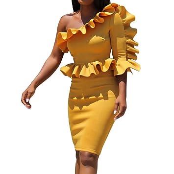 c6f98b328045 Women's Sexy One-Shoulder Irregular Sleeveless Plus Size Vintage Bodycon  Party Club Ruffle Midi Dress