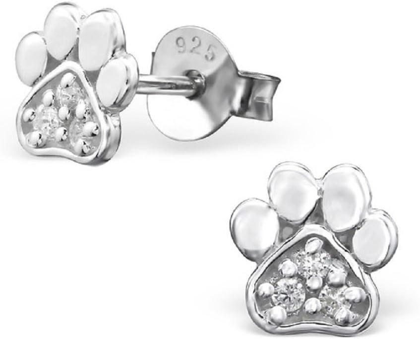 Laimons Kids Orecchini a pressione per bambini gioielli per bambini Zampa di cane finitura lucida Zirconi Argento Sterling 925