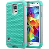 """Galaxy S5 Case, ULAK Slim Hybrid Shock Absorbing Silicone Rugged Hard Plastic Case Protective Cover Shell For Samsung Galaxy S5 S V I9600 (5.1"""" inch) 2014 Release - Gray/Mint Green"""