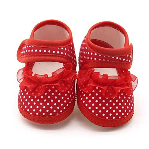 Casual Flats Shoes,Kimanli Newborn Infant Baby Dot Lace Girls Soft Sole Warm (3~6 months, Red)