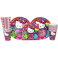 Hello Kitty Party Supplies Pack for 16 Guests Includes: Straws, Dinner Plates, Luncheon Napkins, and Cups (Bundle for 16)