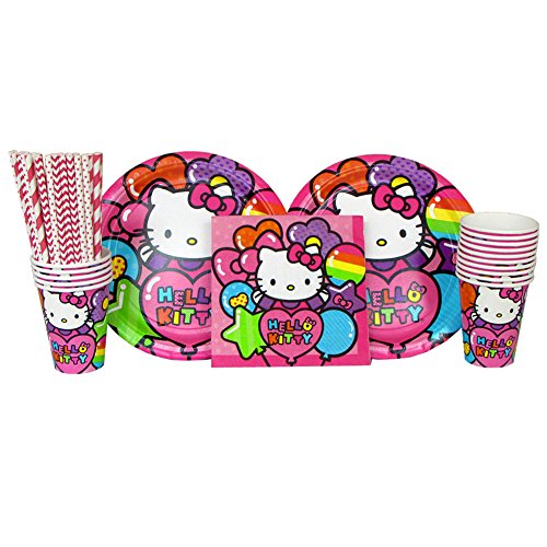 Cedar Crate Market Hello Kitty Party Supplies Pack for 16 Guests Includes: Straws, Dinner Plates, Luncheon Napkins, and Cups (Bundle for -
