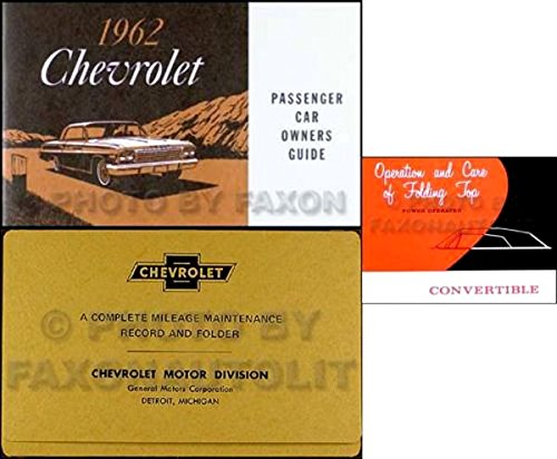 1962 CHEVROLET IMPALA CONVERTIBLE OWNERS INSTRUCTION & OPERATING SET OF MANUALS & PROTECTIVE ENVELOPE