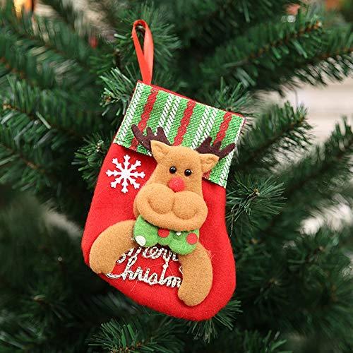 Bag Woven - 1 Pc Cute Santa Stocking Christmas Gift Bags Claus Sock Tree Decoration Hanging Ornament Party - Stockings Holders Stockings Gift Holders Cotton Small Tote Drawstring Shopper Sho