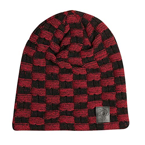 JINX World of Warcraft Horde Two-Tone Slouchy Knit Beanie, Black/Red, One Size