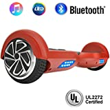 """NHT 6.5"""" Wheel Hoverboard Electric Smart Self Balancing Scooter with Bluetooth Speaker - UL2272 Certified, Color: Red"""